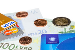 Credit and Tax Free cards on Euro banknotes Royalty Free Stock Image