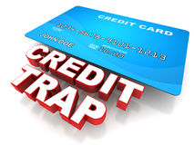 Credit trap. Concept with a credit card, too much credit use can lead to financial crisis Stock Photos