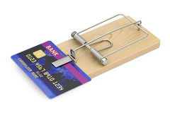 Credit trap concept, mousetrap with credit card, 3D rendering Royalty Free Stock Photos