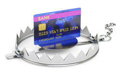 Credit trap with credit card, 3D rendering. Isolated on white background Royalty Free Stock Photos