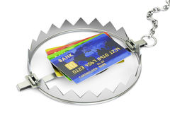 Credit trap with credit cards, 3D rendering. Isolated on white background Royalty Free Stock Photo