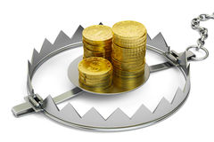 Credit trap with golden coins, 3D rendering. On white background Stock Images