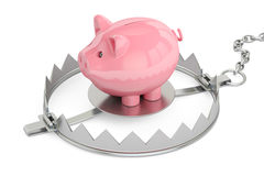 Credit trap with piggy bank, 3D rendering. On white background Royalty Free Stock Photography