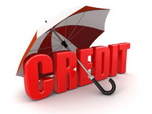 Credit under Umbrella (clipping path included) Stock Photos