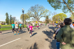 Credit Union Cherry Blossom 5K run-walk. Washington DC, USA - Apr.12,2015 : Joggers and runners participated in the event of Credit Union Cherry Blossom 5K run Royalty Free Stock Photos