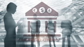 Credit Union. Financial cooperative banking services. Finance abstract background royalty free stock images