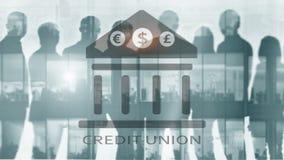 Credit Union Pieniężne spółdzielni bankowość usługi Finansowy abstrakcjonistyczny tło zdjęcia royalty free