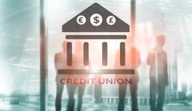 Credit Union Pieniężne spółdzielni bankowość usługi Finansowy abstrakcjonistyczny tło fotografia royalty free