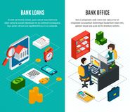 Credit Vertical Banners Set. Loans isometric vertical banners set with two compositions of financial icons and human characters with text vector illustration Royalty Free Stock Images