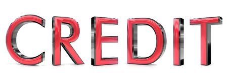 Credit word. The credit word 3d rendered red and gray metallic color , isolated on white background Stock Photos