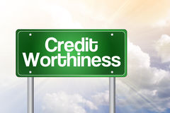 Credit Worthiness Green Road Sign Stock Photos