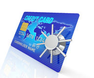 Creditcard Access. A 3D Rendering blue credit card with safe Stock Images