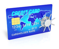 Creditcard Access. A 3D Rendering blue credit card with safe Stock Image