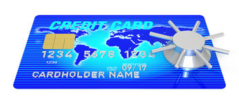 Creditcard Access. A 3D Rendering blue credit card with safe Royalty Free Stock Images