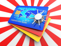 Creditcard Access. A 3D Rendering blue credit card with safe Royalty Free Stock Photography
