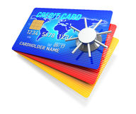 Creditcard Access. A 3D Rendering blue credit card with safe Stock Photos