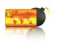 Creditcard with bomb. Creditcard debt Royalty Free Stock Photography