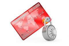 Creditcard door Encryptiehangslot dat wordt beschermd het 3d teruggeven Royalty-vrije Stock Afbeelding