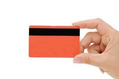 Creditcard in een vrouwelijke hand royalty-vrije stock fotografie