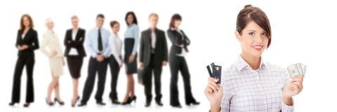 Creditcard en contant geld stock afbeelding