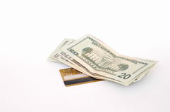 Creditcard en dollars stock foto's