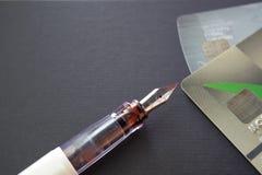 Creditcard en pen Stock Fotografie