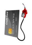Creditcard met benzinepomppijp Royalty-vrije Stock Afbeeldingen