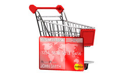 Creditcard met Boodschappenwagentje Royalty-vrije Stock Afbeelding