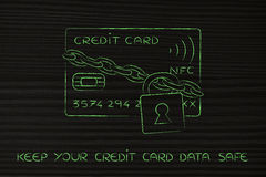 Creditcard met slot en ketting als grappige betalingsveiligheid Stock Afbeeldingen