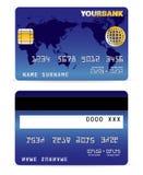 Creditcard op de Kaart Backgr van Word Royalty-vrije Stock Foto's