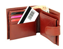 Creditcard in portefeuille Stock Afbeelding