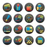 Creditcard, POS terminal en ATM-pictogrammen Stock Afbeeldingen