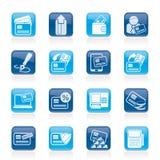 Creditcard, POS terminal en ATM-pictogrammen Stock Afbeelding