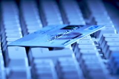 Creditcard ready for payment on the keyboard Stock Photo