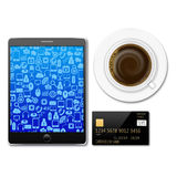Creditcard with tablet and coffee Stock Photo