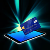 Creditcard with tablet,tablet phone illustration Royalty Free Stock Photos