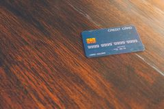 CreditCard on wooden table stock images