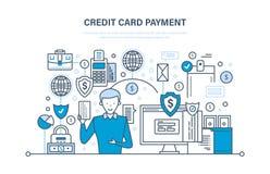 Creditcardbetaling, veilige transacties, financiën, bank, bankwezen, geldoverdrachten stock illustratie