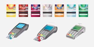 Creditcardpictogram en POS terminal op wit wordt geïsoleerd dat royalty-vrije stock afbeelding