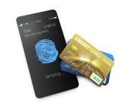 Creditcards en smartphone op witte achtergrond worden geïsoleerd die Stock Foto's