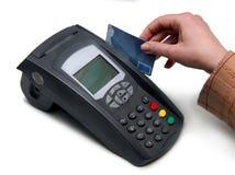 Creditcardterminal (pOS-Eind) voor betaling Stock Afbeelding