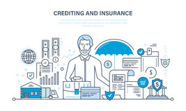 Crediting, property insurance, financial security, commercial activity, finance, business, technology. Stock Photos