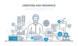 Crediting, property insurance, financial security, commercial activity, finance, business, technology. Concept - crediting and property insurance, financial Stock Photos
