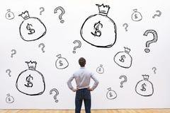 Credito, investimento o concetto finanziario raccoglientesi fondi, soldi fotografia stock