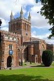 Crediton教区教堂中央塔在德文郡英国 免版税库存照片