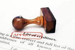 Creditor list - approved. Close up of Creditor list - approved Stock Images