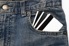 Credits card in a pocket jeans Stock Image