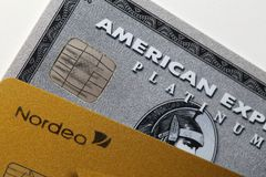 Credits Cards by Nordea and American Express in a Closeup stock image
