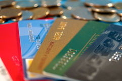 Credits and money. Credit cards and real money Royalty Free Stock Photography