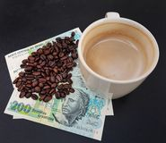 Brazil roasted coffee beans placed on banknotes royalty free stock photography